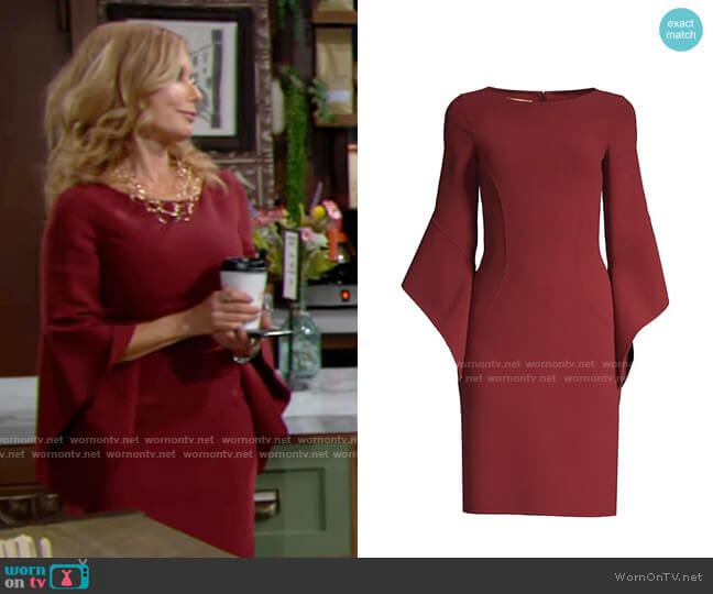 Michael Kors Stretch Wool-Crepe Draped-Sleeve Sheath Dress worn by Lauren Fenmore (Tracey Bregman) on The Young & the Restless