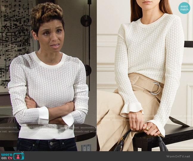 MICHAEL Michael Kors Crochet Knit Top worn by Elena Dawson (Brytni Sarpy) on The Young & the Restless