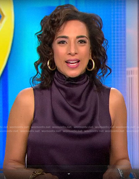 Michelle Miller's purple sleeveless cowl neck top on CBS This Morning