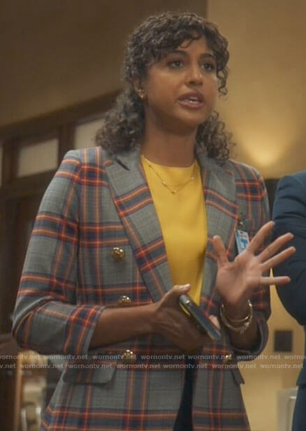 Mikaela's plaid blazer on Mr Mayor