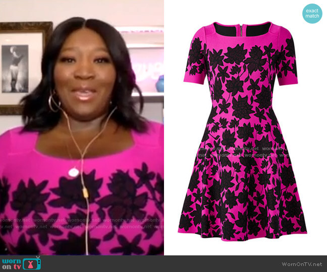 Lace Jacquard Fit-&-Flare Dress by Milly worn by Bevy Smith on GMA