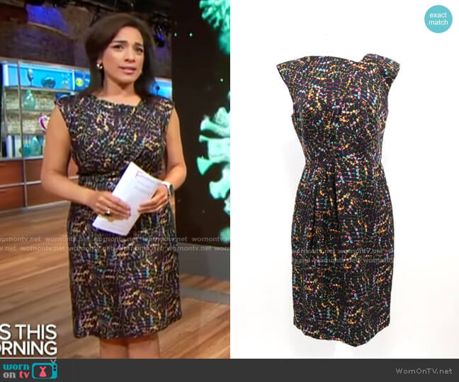 Milly Asymmetric Printed Sheath Dress worn by Michelle Miller  on CBS This Morning