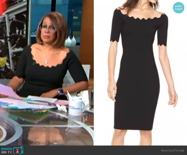 Milly Pointed Scallop Fitted Dress worn by Gayle King  on CBS This Morning