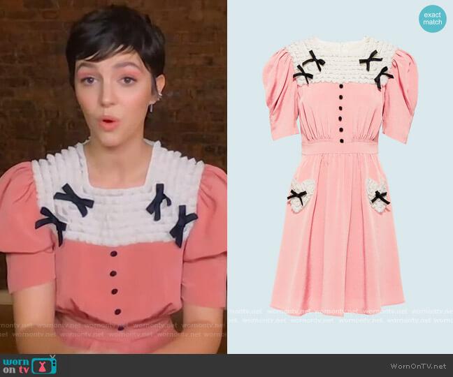 Reboutinette Dress Miu Miu worn by Ella Hunt on The Kelly Clarkson Show