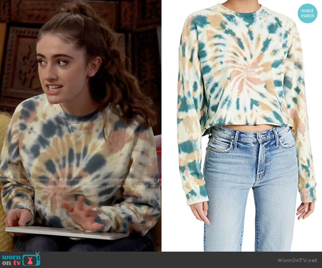 Mother The Loafer Tie Dyed Cropped Sweatshirt in Delusional worn by Jackie Raines (Rachel Sennott) on Call Your Mother