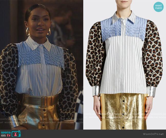 Printed Puff-Sleeve Fringe Blouse worn by Zoey Johnson (Yara Shahidi) on Grown-ish
