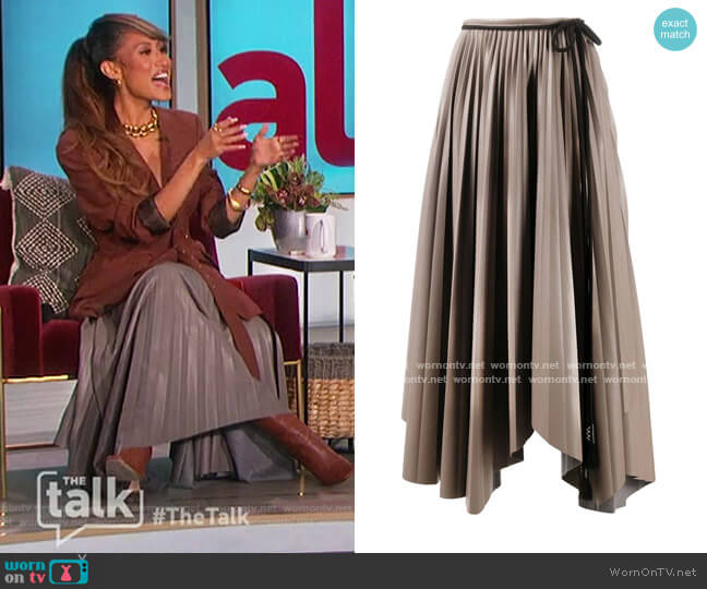 Asymmetric Pleated Skirt by Nanushka worn by Elaine Welteroth  on The Talk