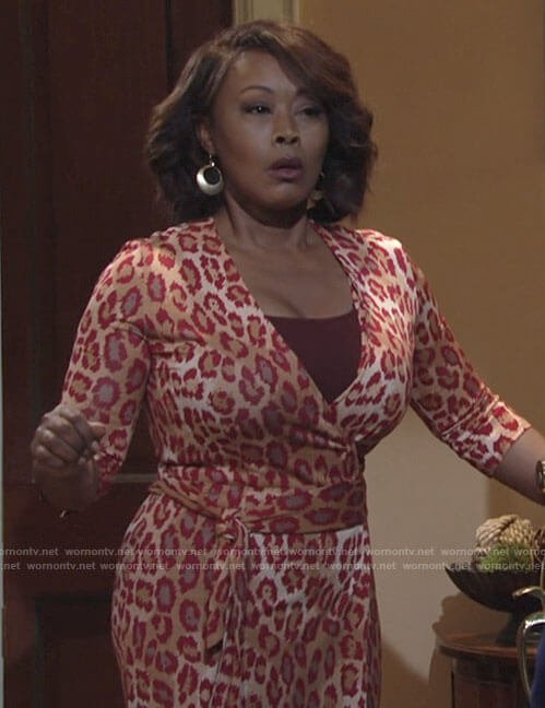 Naya's red leopard print wrap dress on The Young and the Restless