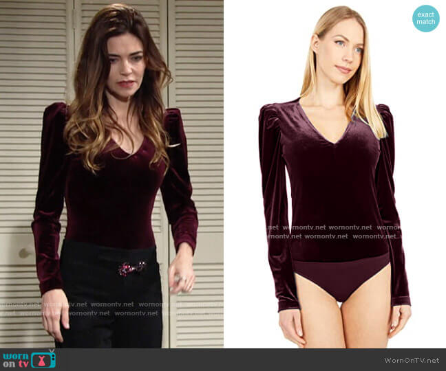 Nicole Miller Velvet Bodysuit worn by Victoria Newman (Amelia Heinle) on The Young & the Restless