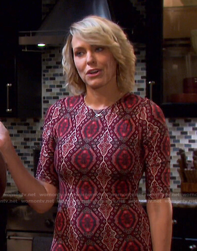 Nicole's red printed dress on Days of our Lives
