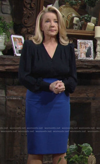 Nikki's navy blouse and blue pencil skirt on The Young and the Restless