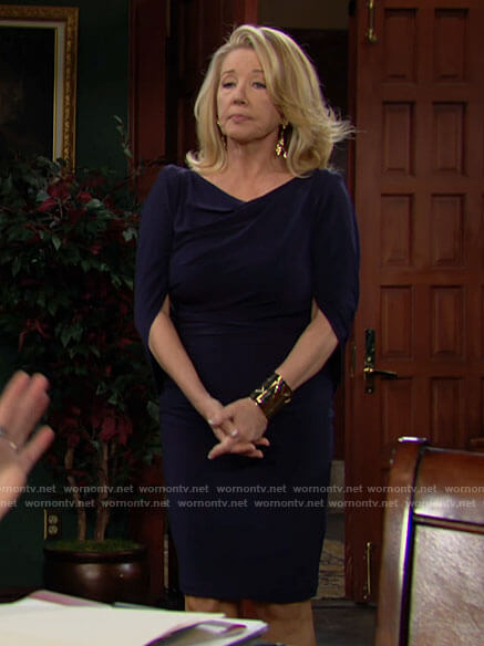 Nikki's navy draped cape sleeve dress on The Young and the Restless