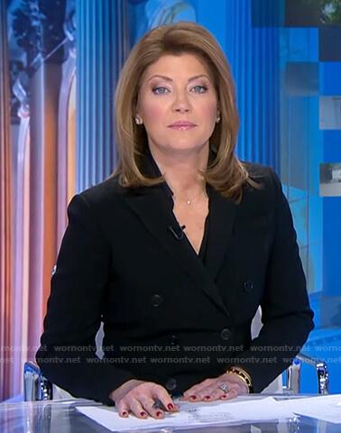 Norah's black double breasted blazer on CBS Evening News