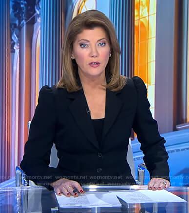 Norah's black puff sleeve blazer on CBS Evening News