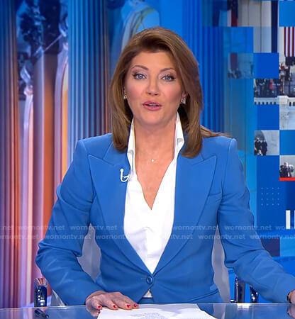 Norah's blue blazer on CBS Evening News