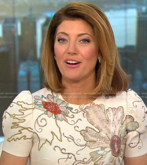 Norah O'Donnell's ivory floral embellished dress on CBS This Morning