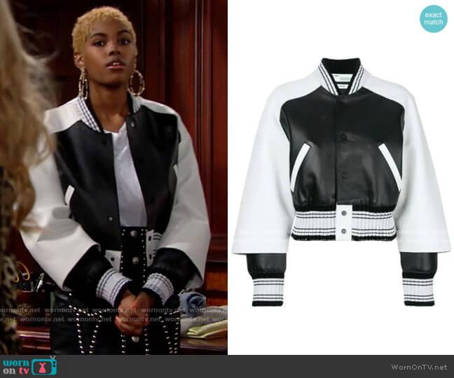 Off White Leather Bomber Jacket worn by Paris Buckingham (Diamond White) on The Bold & the Beautiful