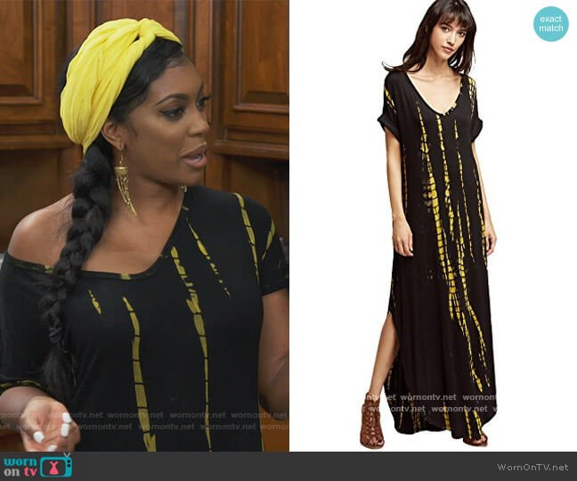 Casual Maxi Short Sleeve Split Tie Dye Long Dress by Boho worn by Porsha Williams  on The Real Housewives of Atlanta