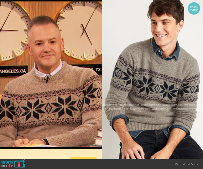 Cozy Fair Isle Crew-Neck Sweater by Old Navy worn by Drew Barrymore  on The Drew Barrymore Show