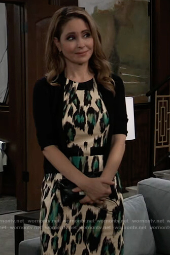 Olivia's leopard print sheath dress on General Hospital