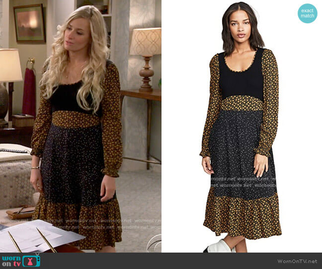 Opening Ceremony Long Sleeve Mixed Midi Dress worn by Gemma (Beth Behrs) on The Neighborhood