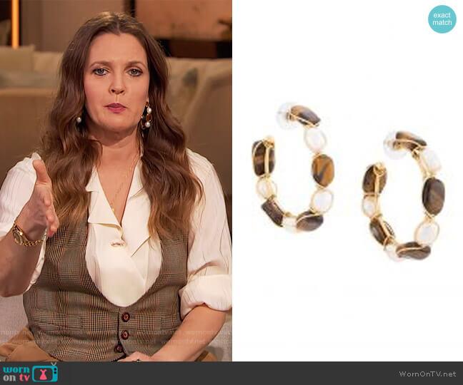 Brown Tiger Eye Hoop Earrings by Oscar De La Renta worn by Drew Barrymore  on The Drew Barrymore Show