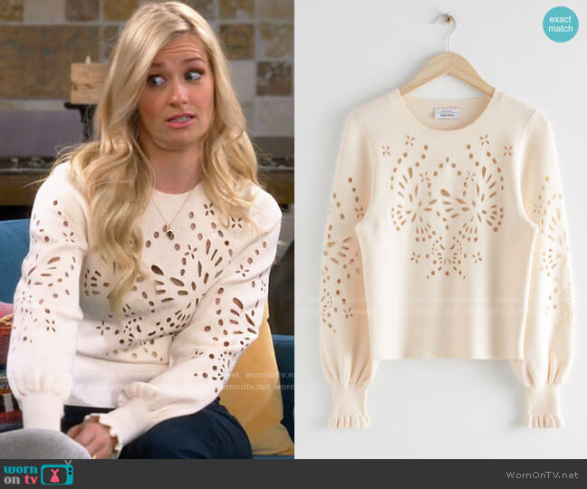 & Other Stories Embroidered Jacquard Knit Sweater worn by Gemma (Beth Behrs) on The Neighborhood