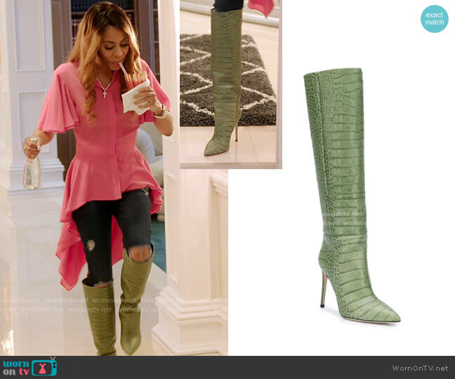 Crocodile Effect Boots by Paris Texas worn by Mary Cosby  on The Real Housewives of Salt Lake City