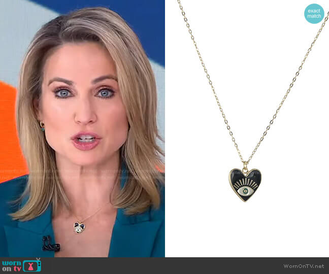 Seeing Eye Heart Necklace by Peggy Li worn by Amy Robach  on Good Morning America