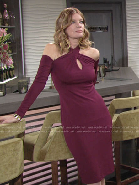 Phyllis's burgundy long sleeve cross neck dress on The Young and the Restless