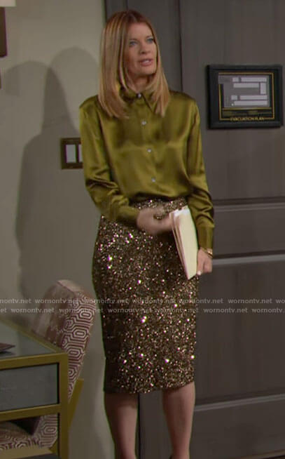Phyllis's green button down blouse and sequin pencil skirt on The Young and the Restless