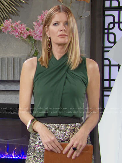 Phyllis's green cross neck top on The Young and the Restless