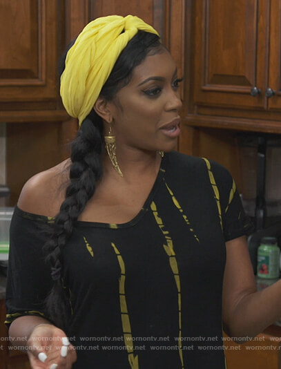 Porsha's black tie dye dress on The Real Housewives of Atlanta