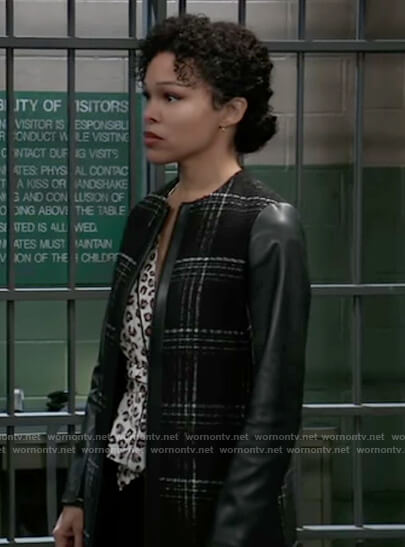 Portia's black plaid coat with leather sleeves on General Hospital