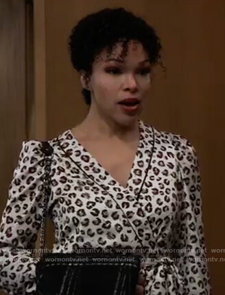 Portia's leopard print wrap blouse on General Hospital