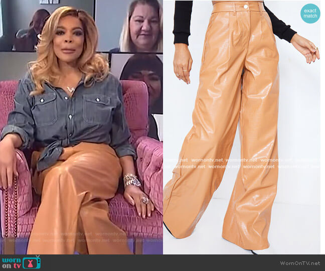 Camel Croc Faux Leather Wide Leg Pants by Pretty Little Thing worn by Wendy Williams  on The Wendy Williams Show
