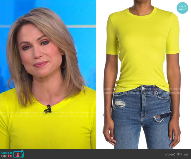The Rib Slim T-Shirt by Rag & Bone worn by Amy Robach  on Good Morning America