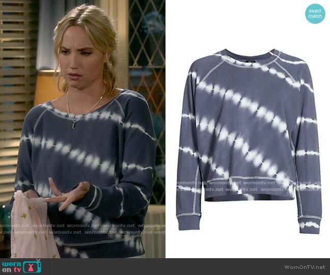 Rails Theo Navy Tie Dye Sweatshirt worn by Mandy Baxter (Molly McCook) on Last Man Standing
