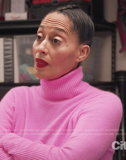 Rainbow's pink cashmere turtleneck sweater on Black-ish