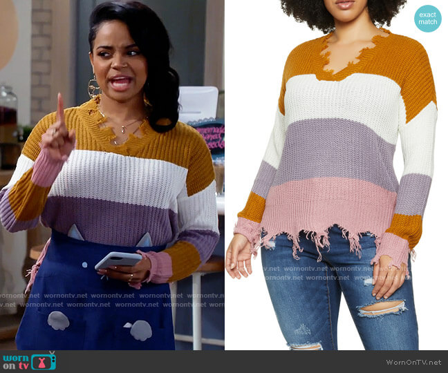 Rainbow Frayed Colorblock v-neck Sweater worn by Randi (Kyla Pratt) on Call Me Kat