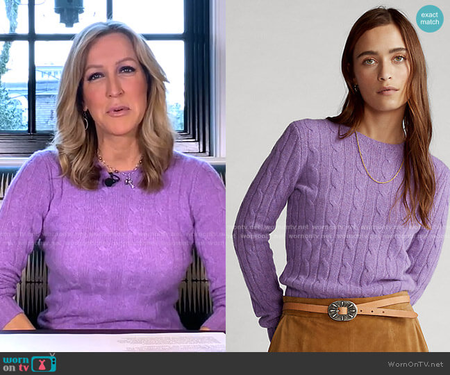 Cable-Knit Cashmere Sweater by Ralph Lauren worn by Lara Spencer  on Good Morning America