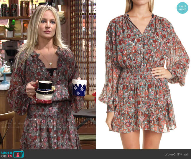 Blake Print Long Sleeve Minidress by Ramy Brook worn by Sharon Collins (Sharon Case) on The Young & the Restless