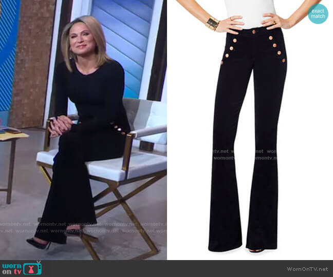Helena High-Rise Velveteen Flare Pants by Ramy Brook worn by Amy Robach  on Good Morning America
