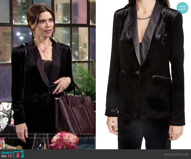Ramy Brook Malcom Blazer worn by Victoria Newman (Amelia Heinle) on The Young & the Restless