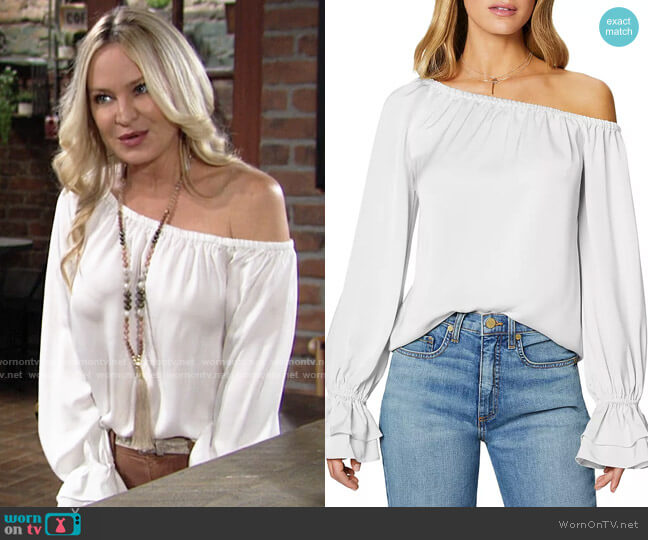 Ramy Brook Murphy Off-the-Shoulder Top worn by Sharon Collins (Sharon Case) on The Young & the Restless