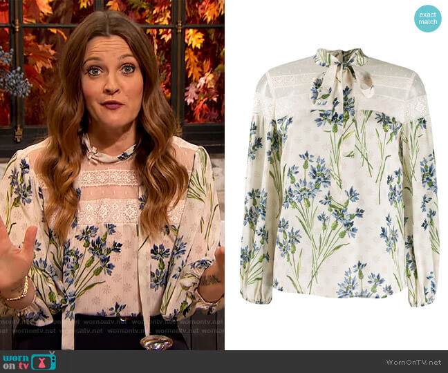 Floral Print Blouse by Red Valentino worn by Drew Barrymore  on The Drew Barrymore Show