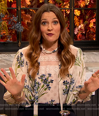 Drew's white floral blouse on The Drew Barrymore Show