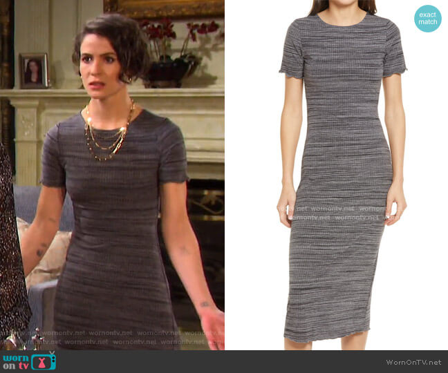 Perry Rib Midi Dress by Reformation worn by Sarah Horton (Linsey Godfrey) on Days of our Lives