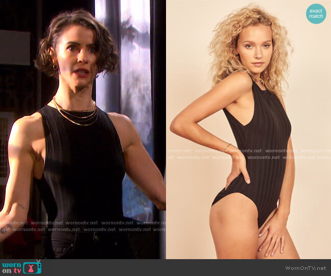 Bells Bodysuit by Reformation worn by Sarah Horton (Linsey Godfrey) on Days of our Lives