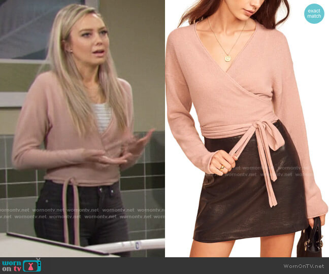 Reformation Cashmere Wrap Sweater in Blush worn by Abby Newman (Melissa Ordway) on The Young & the Restless